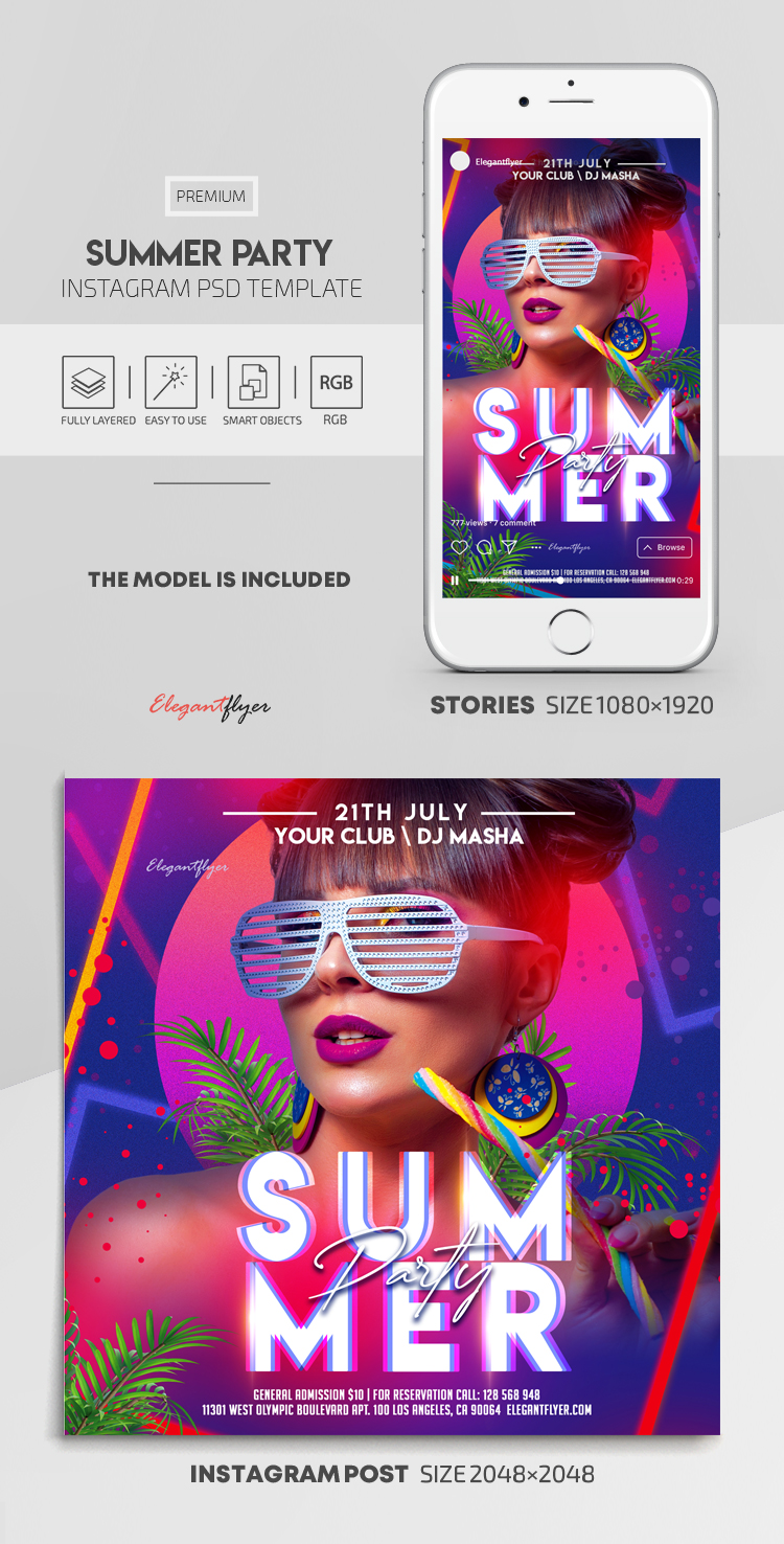 Summer Party – Instagram Stories Template in PSD + Post Templates