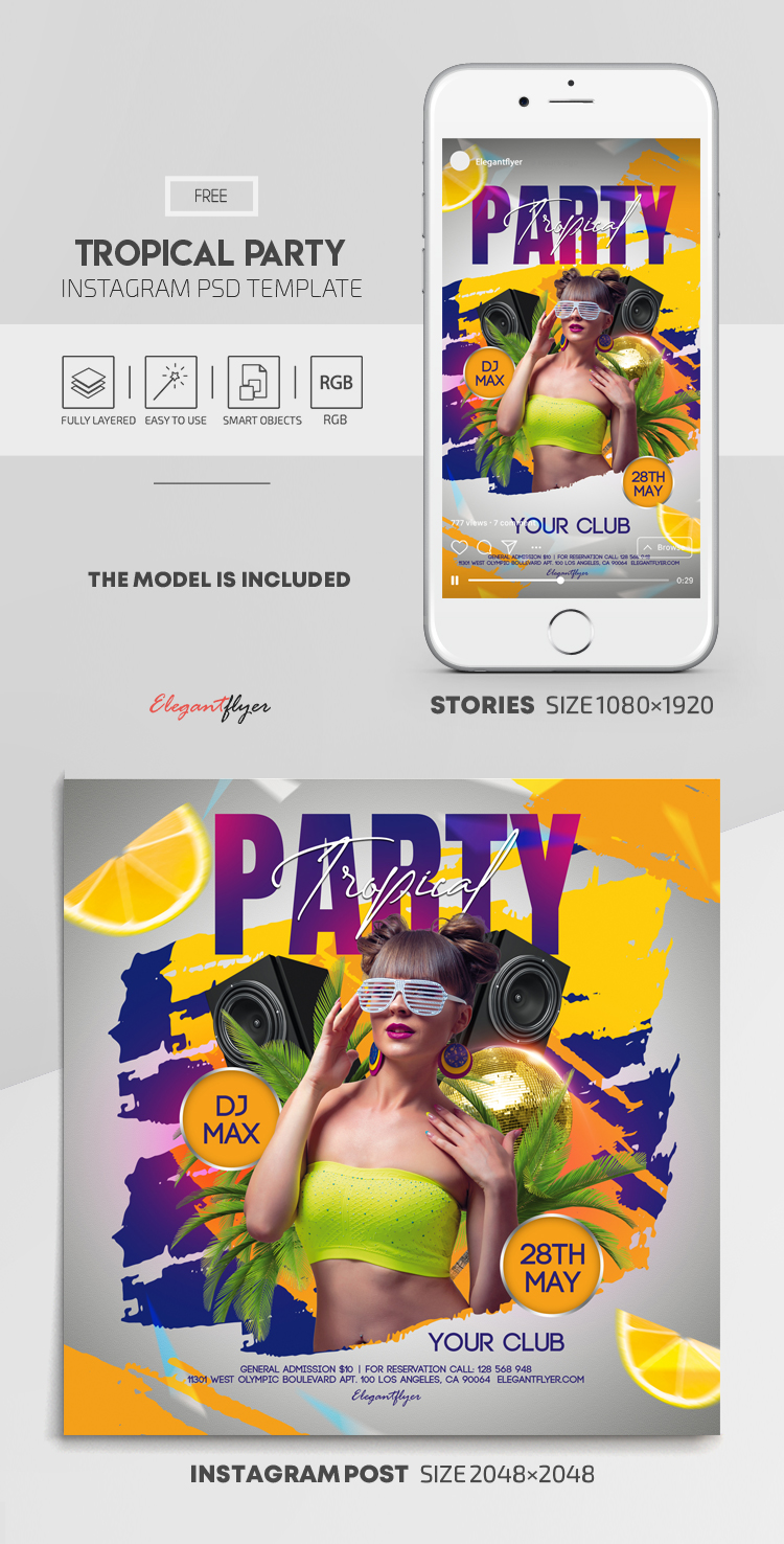 Tropical Party – Free Instagram Stories Template in PSD + Post Templates