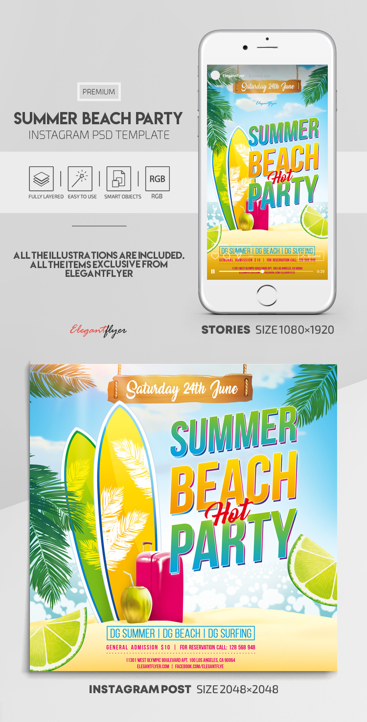 Summer Beach Party – Instagram Stories Template in PSD + Post Templates