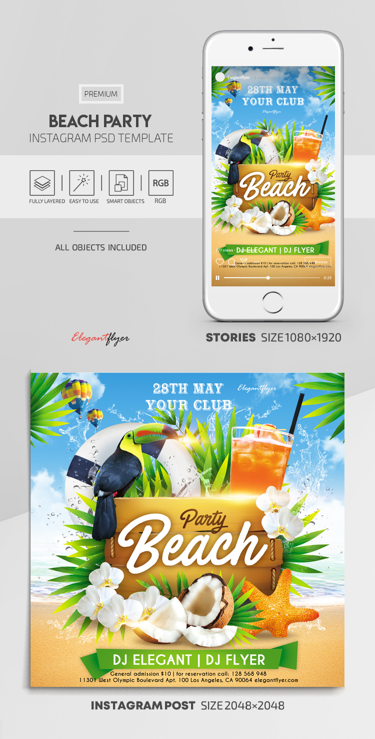 Beach Party – Instagram Stories Template in PSD + Post Templates
