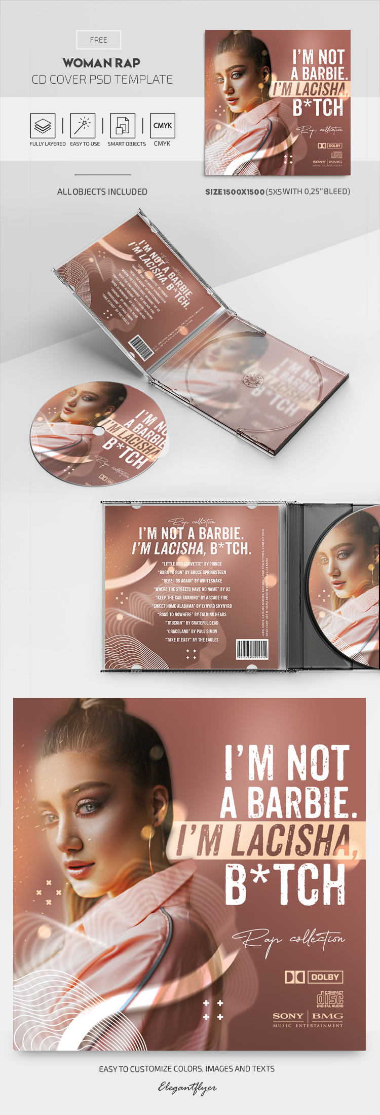 Woman Rap – Free CD Cover PSD Template