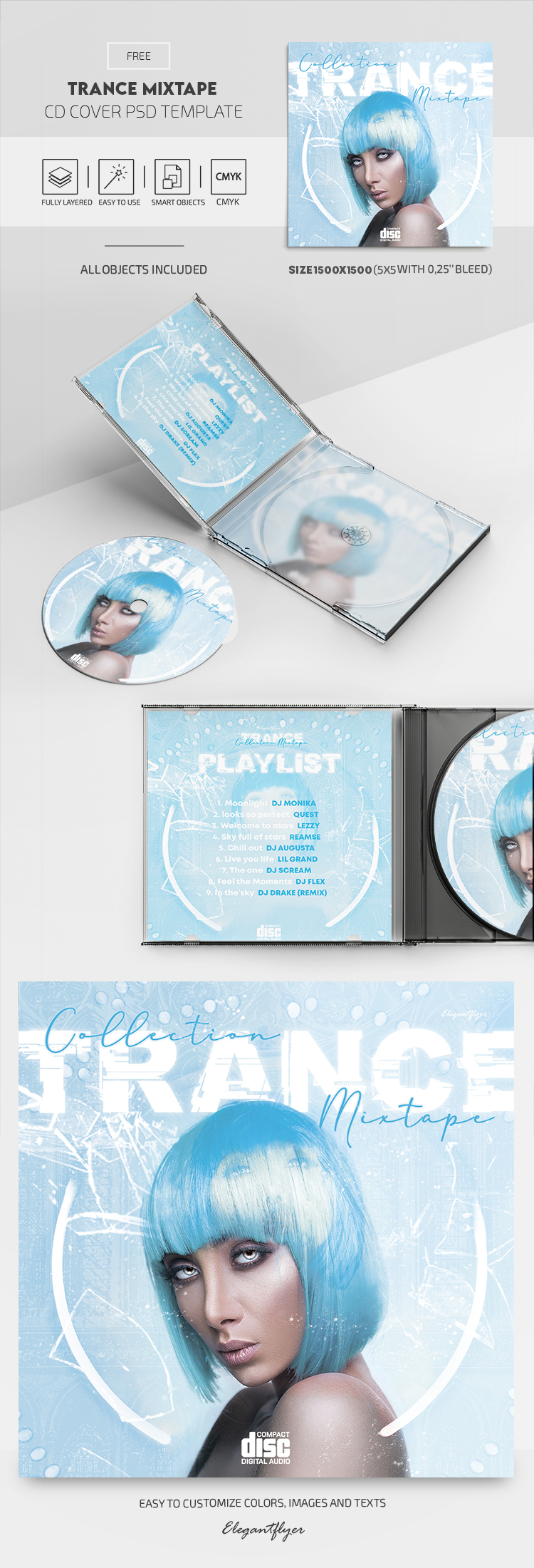Trance Mixtape – Free CD Cover PSD Template