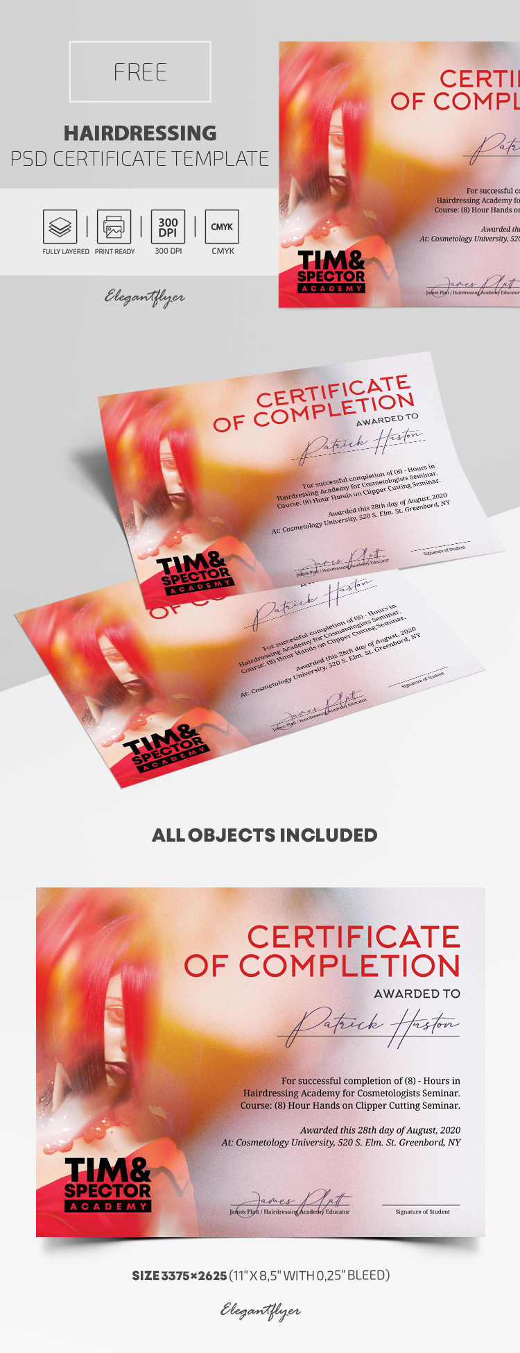 Hairdressing – Free PSD Certificate Template