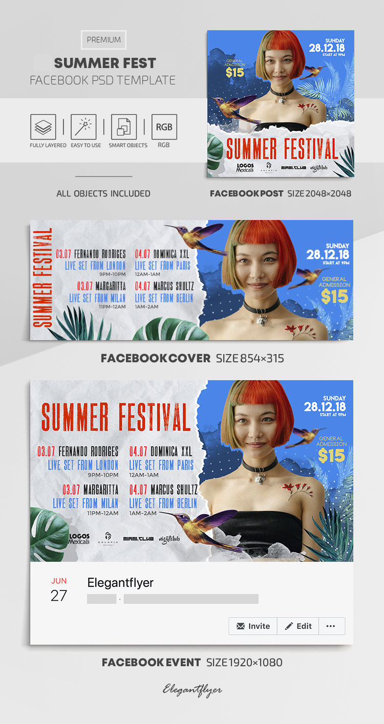 Summer Fest – Facebook Cover Template in PSD + Post + Event cover
