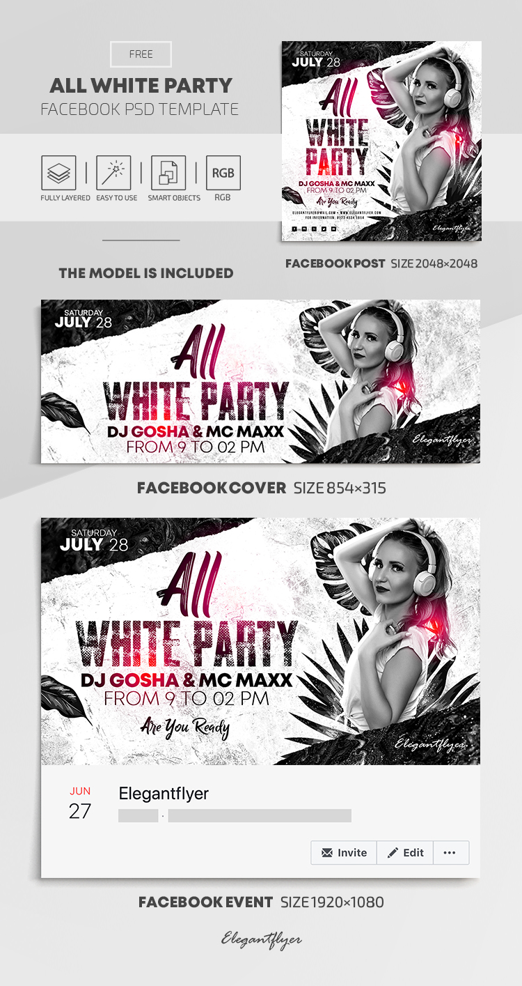 All White Party – Free Facebook Cover Template in PSD + Post + Event cover