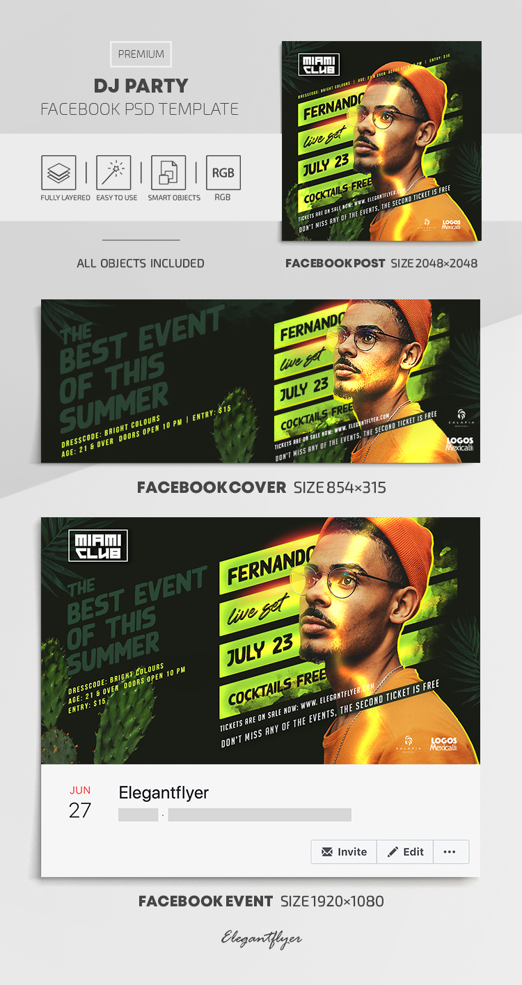 DJ Party – Facebook Cover Template in PSD + Post + Event cover
