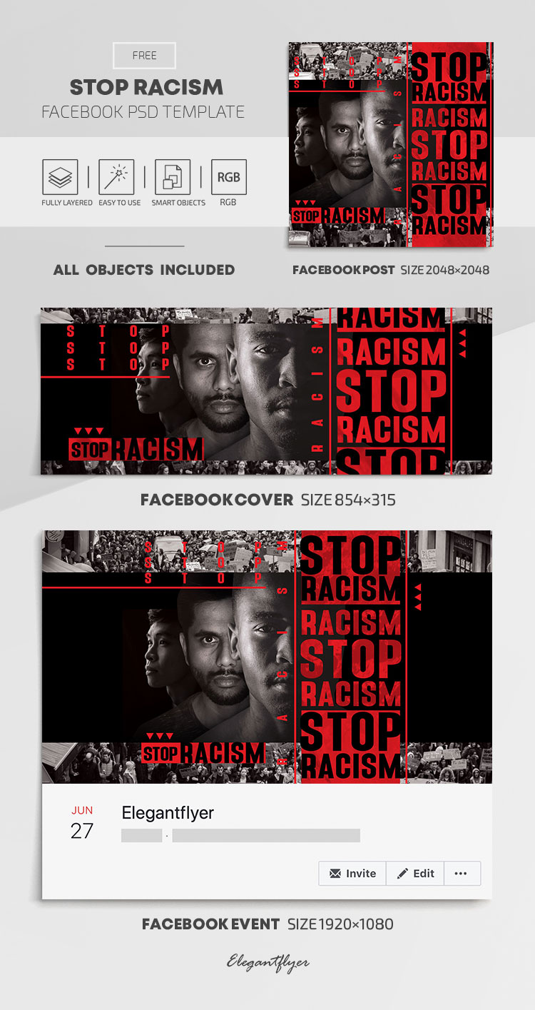 Stop Racism – Free Facebook Cover Template in PSD + Post + Event cover
