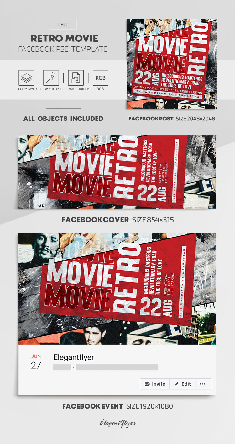 Retro Movie – Free Facebook Cover Template in PSD + Post + Event cover