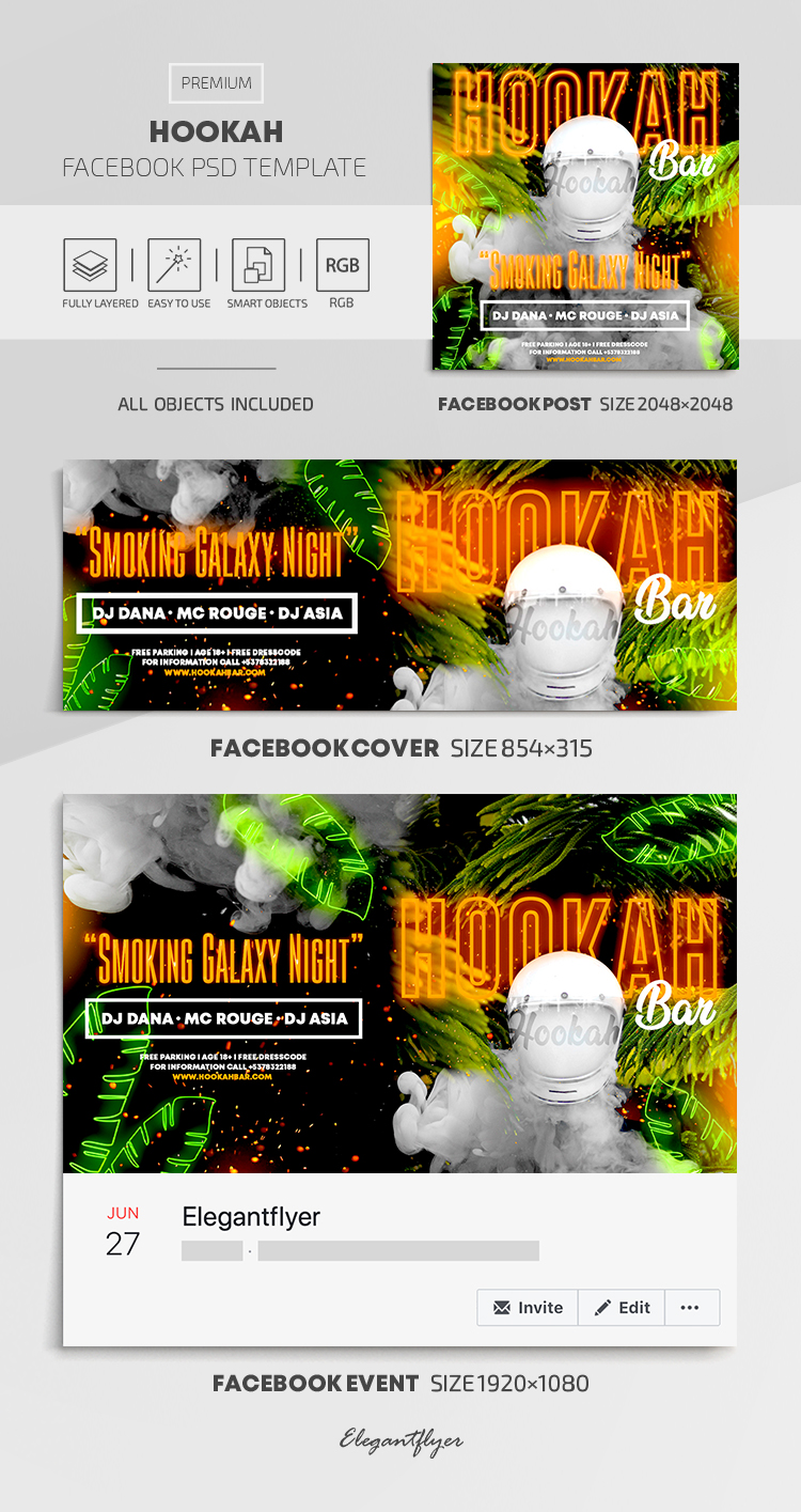 Hookah – Facebook Cover Template in PSD + Post + Event cover