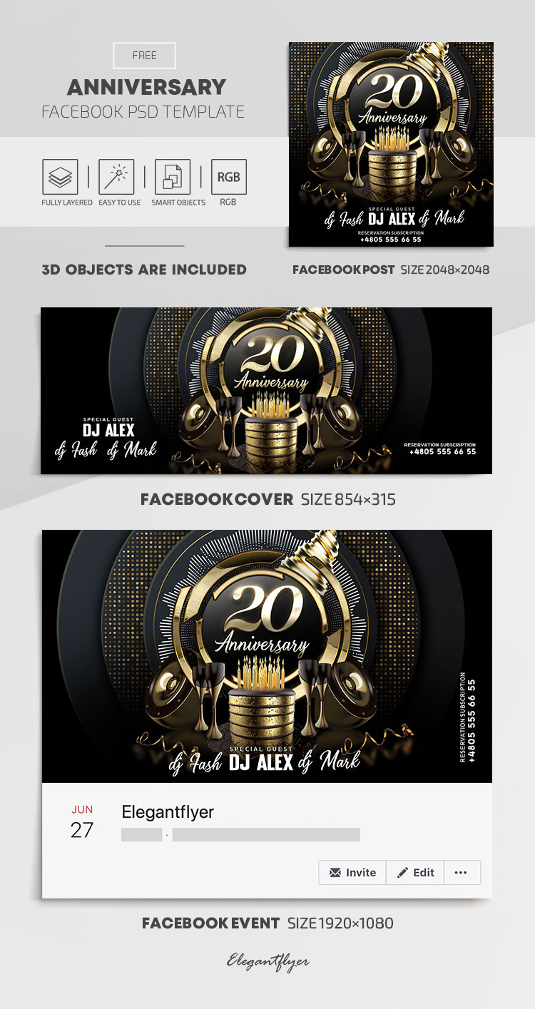 Anniversary – Free Facebook Cover Template in PSD + Post + Event cover