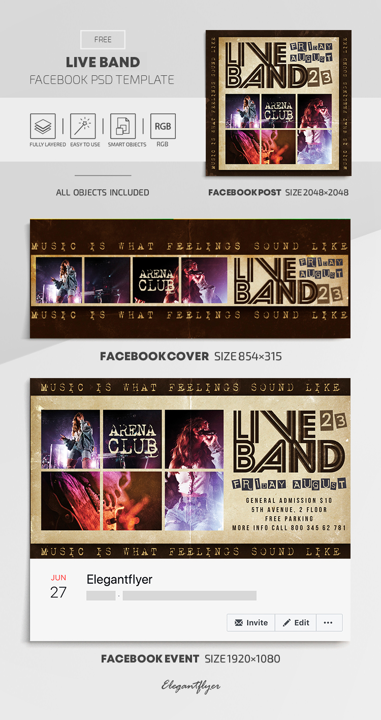 Live Band – Free Facebook Cover Template in PSD + Post + Event cover