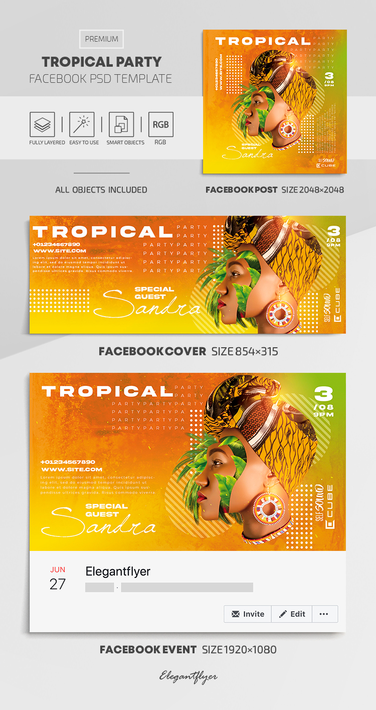 Tropical Party – Facebook Cover Template in PSD + Post + Event cover