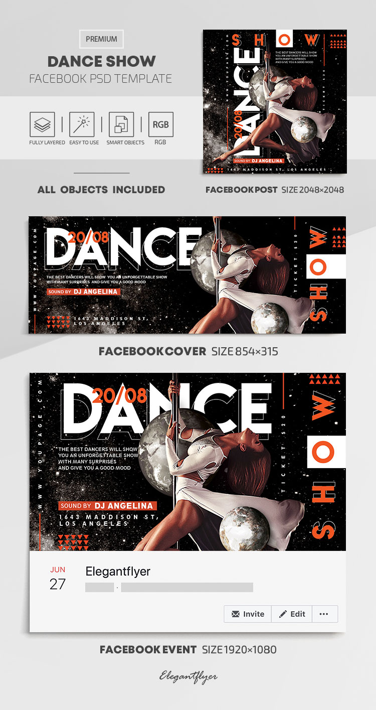 Dance Show – Facebook Cover Template in PSD + Post + Event cover
