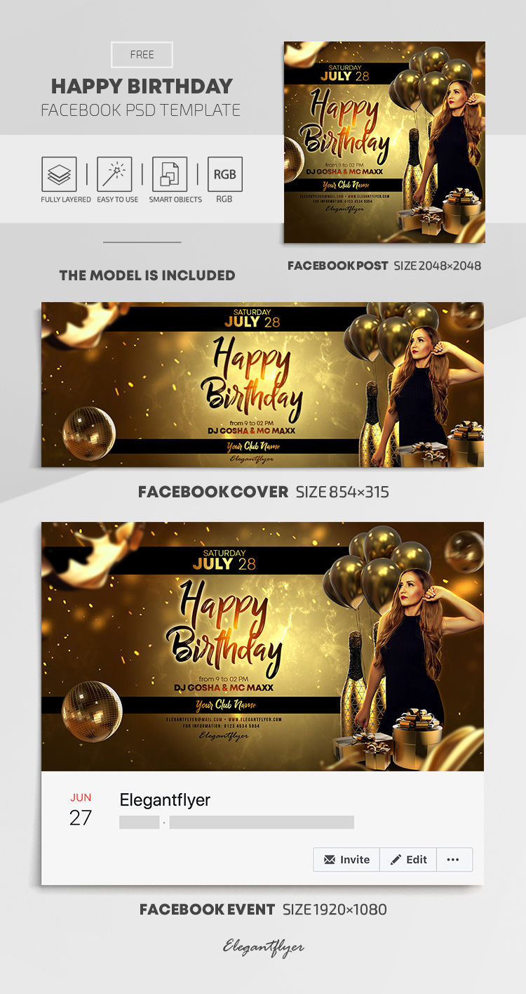 Happy Birthday – Free Facebook Cover Template in PSD + Post + Event cover