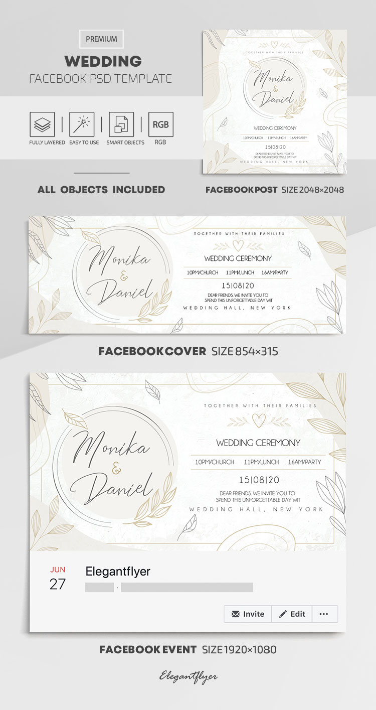 Wedding – Facebook Cover Template in PSD + Post + Event cover