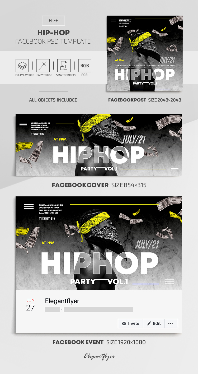 Hip Hop – Free Facebook Cover Template in PSD + Post + Event cover