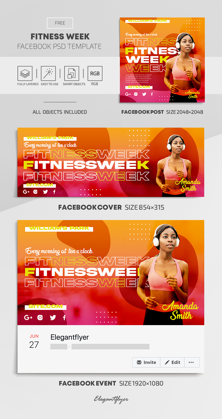 Fitness Week – Free Facebook Cover Template in PSD + Post + Event cover