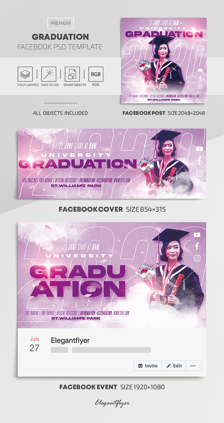 Graduation – Facebook Cover Template in PSD + Post + Event cover