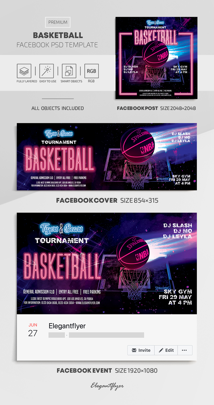 Basketball – Facebook Cover Template in PSD + Post + Event cover