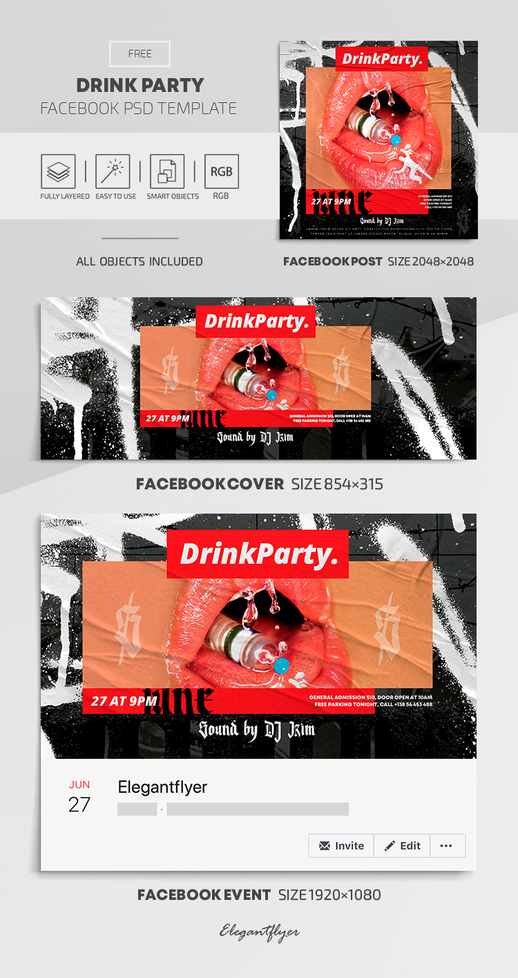Drink Party – Free Facebook Cover Template in PSD + Post + Event cover