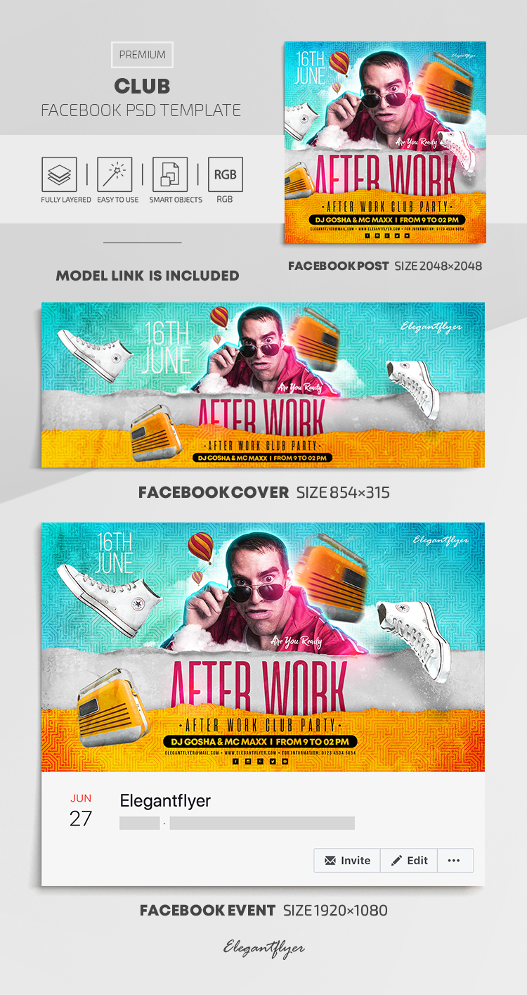 Club – Facebook Cover Template in PSD + Post + Event cover