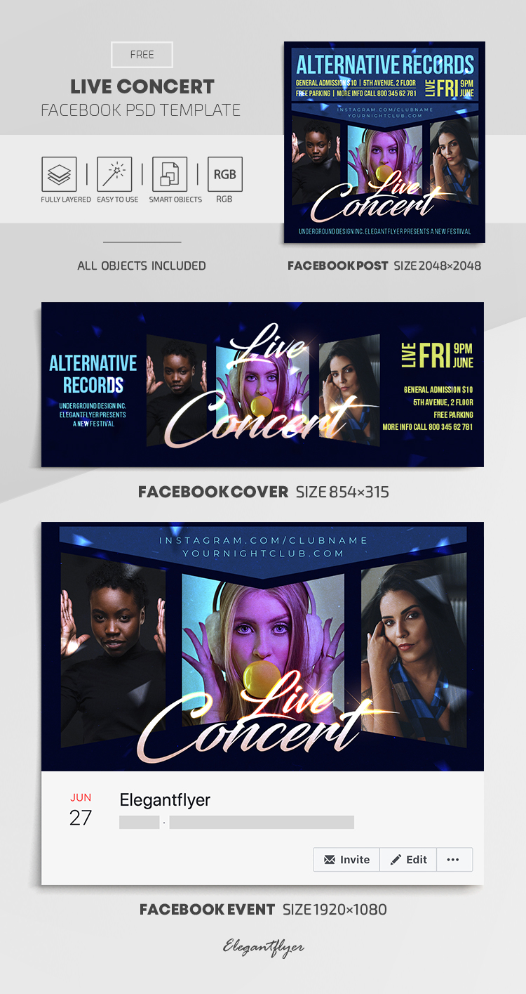 Live Concert – Free Facebook Cover Template in PSD + Post + Event cover