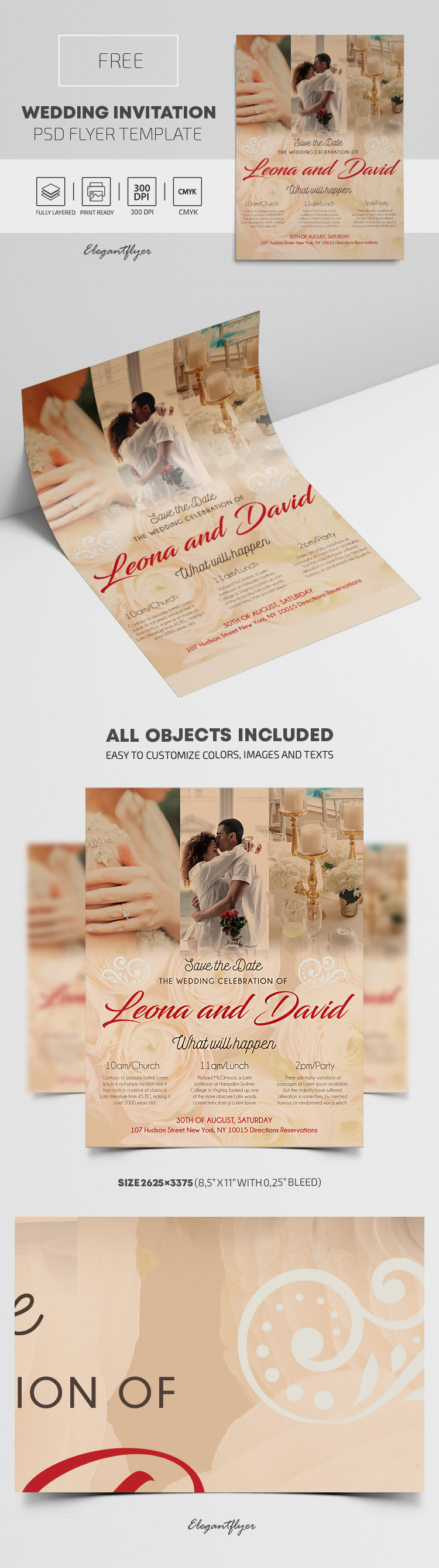 Free PSD Wedding Invitation Template - by ElegantFlyer