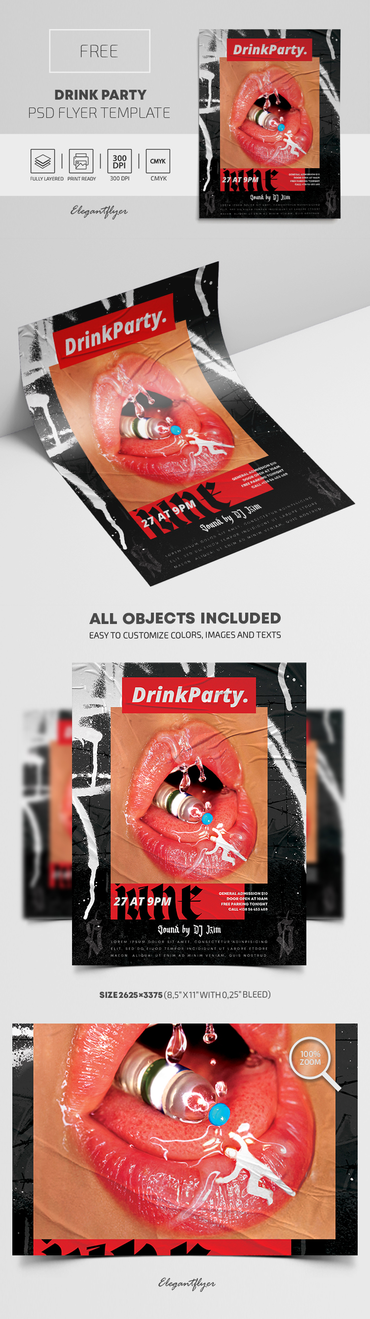 Drink Party – Free PSD Flyer Template