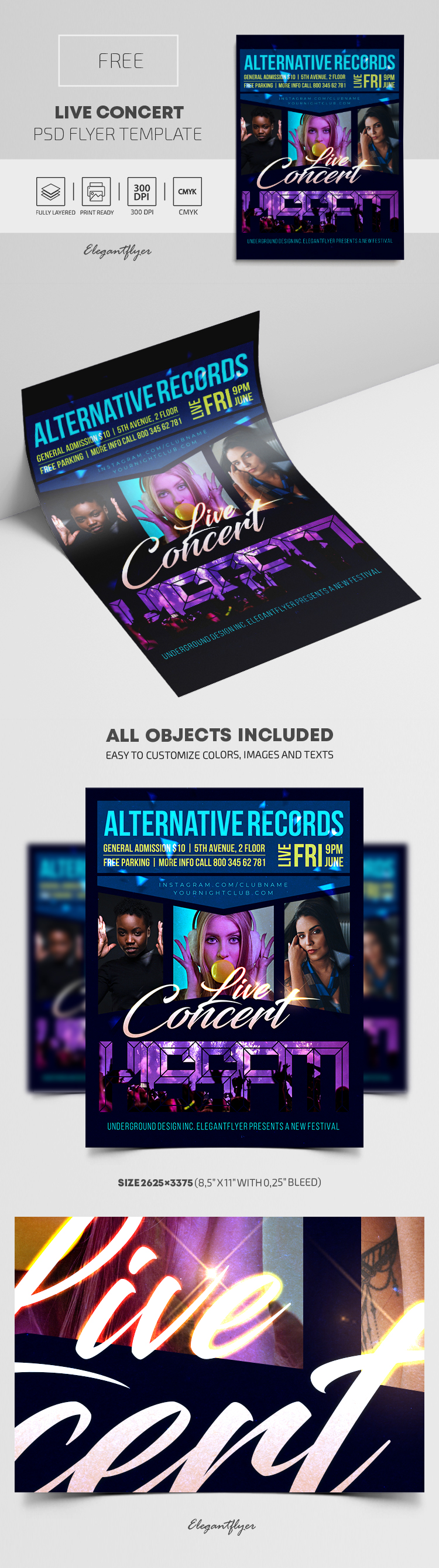 Live Concert – Free PSD Flyer Template