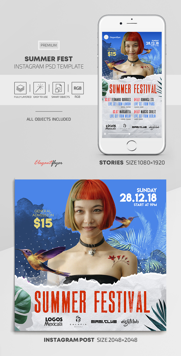 Summer Fest – Instagram Stories Template in PSD + Post Templates