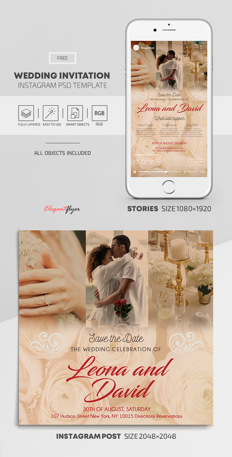 Wedding Invitation – Free Instagram Stories Template in PSD + Post Templates