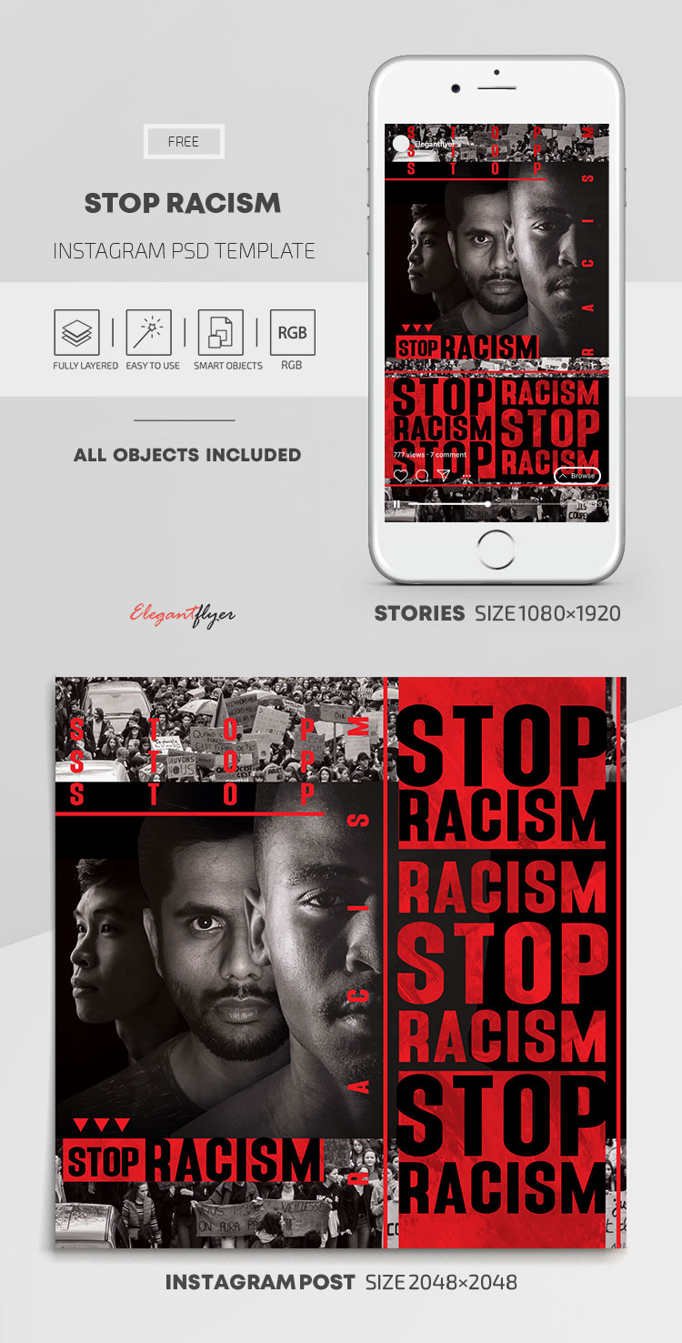 Stop Racism – Free Instagram Stories Template in PSD + Post Templates