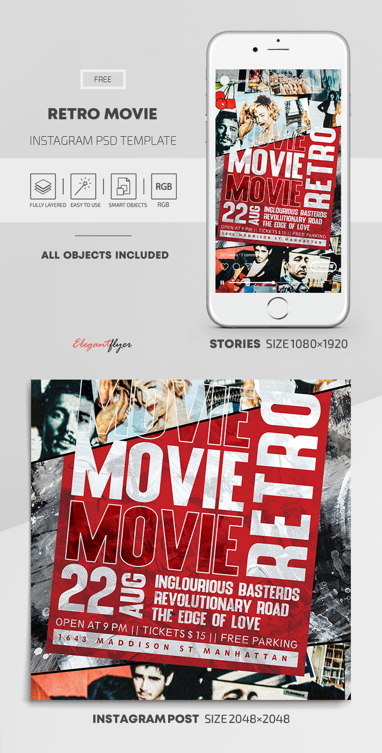 Retro Movie – Free Instagram Stories Template in PSD + Post Templates