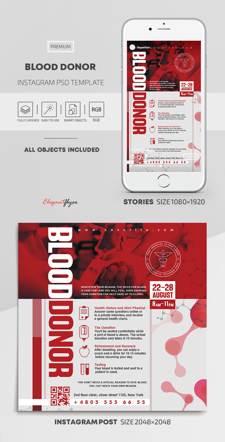 Blood Donor – Instagram Stories Template in PSD + Post Templates