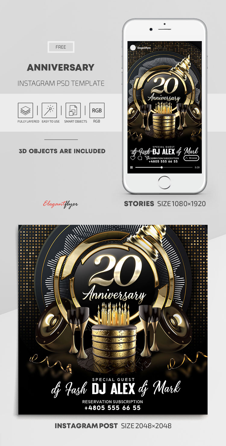 Anniversary – Free Instagram Stories Template in PSD + Post Templates