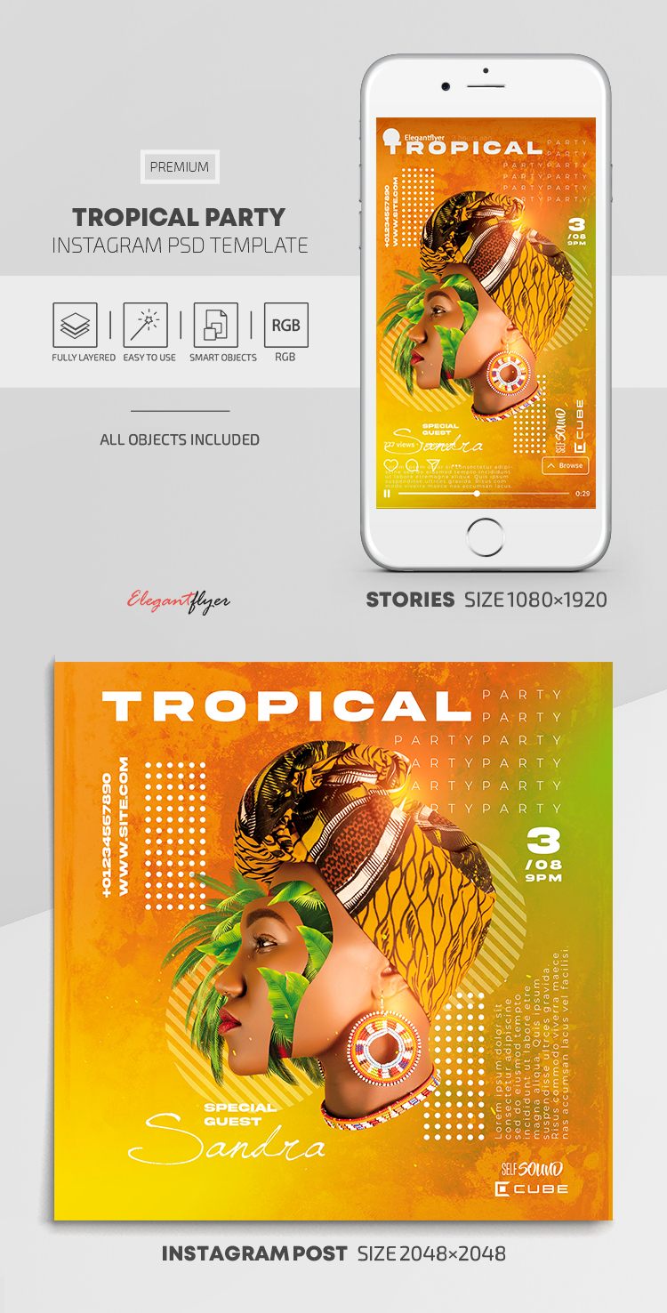 Tropical Party – Instagram Stories Template in PSD + Post Templates