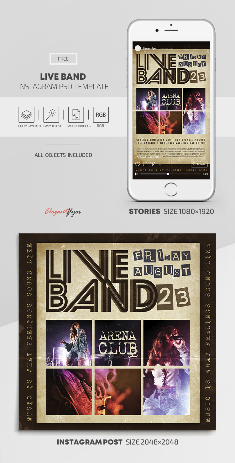 Live Band – Free Instagram Stories Template in PSD + Post Templates