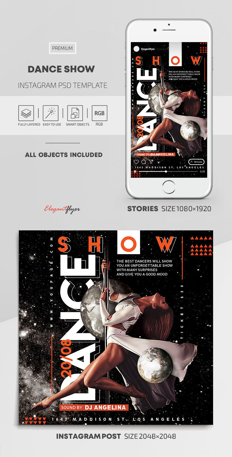 Dance Show – Instagram Stories Template in PSD + Post Templates