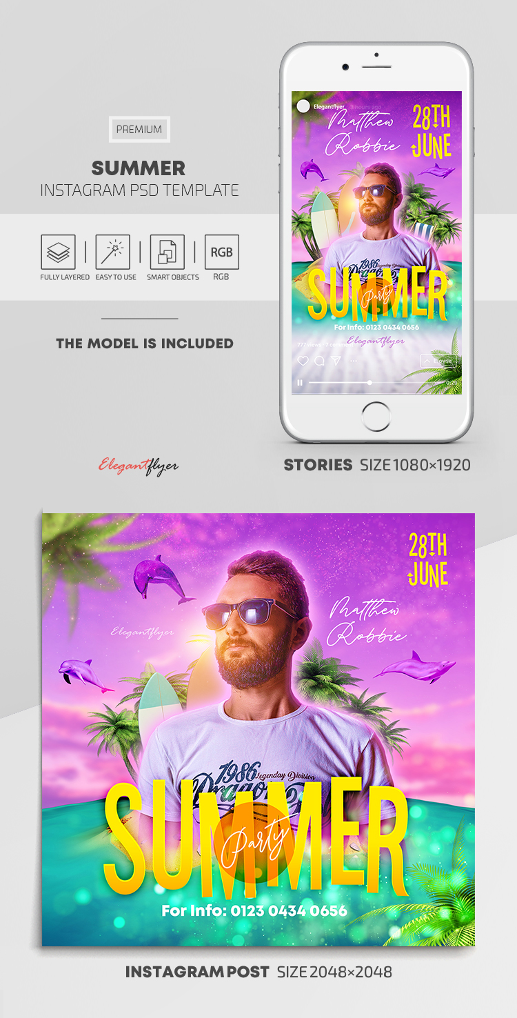 Summer – Instagram Stories Template in PSD + Post Templates