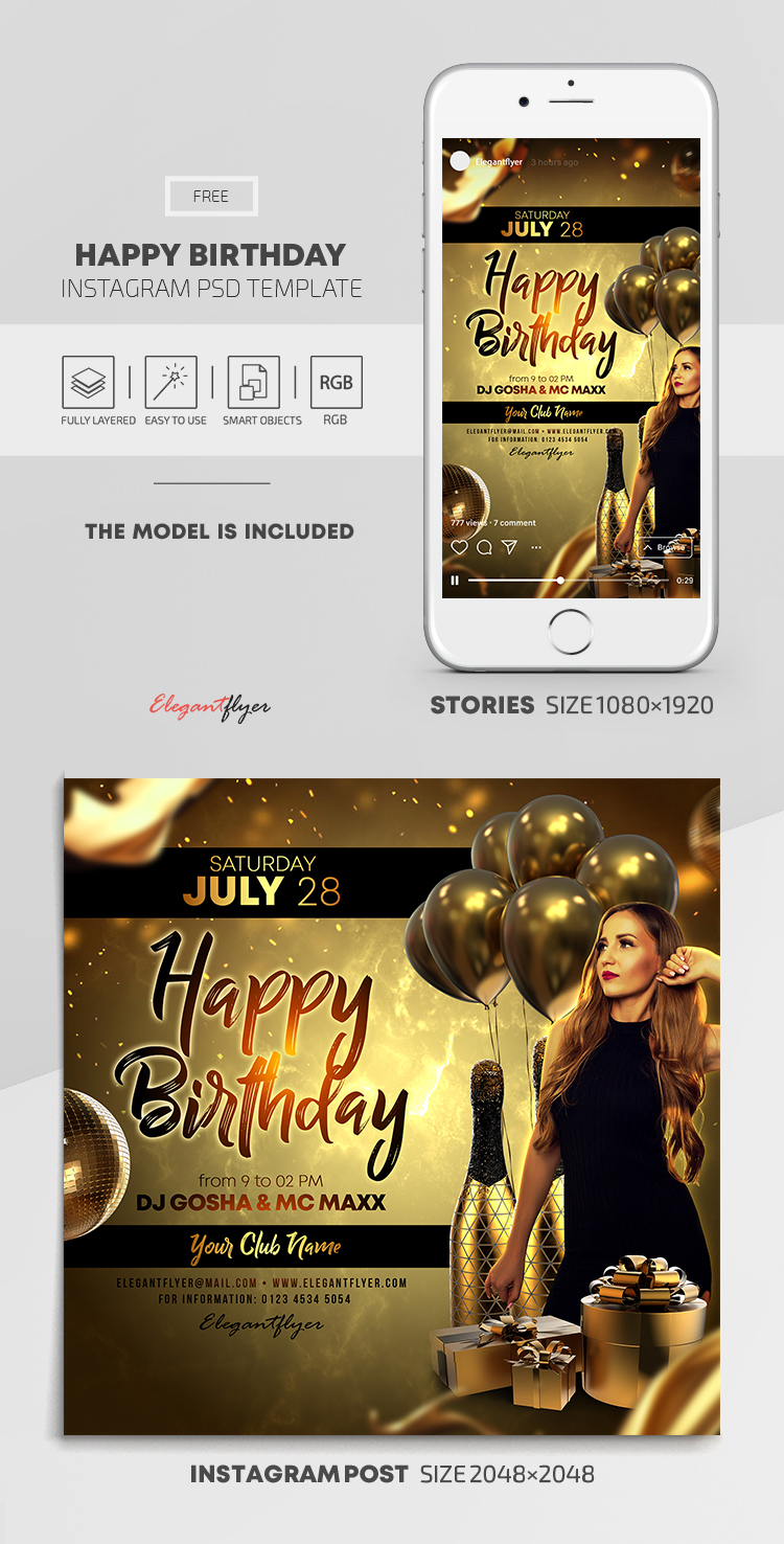 Happy Birthday – Free Instagram Stories Template in PSD + Post Templates