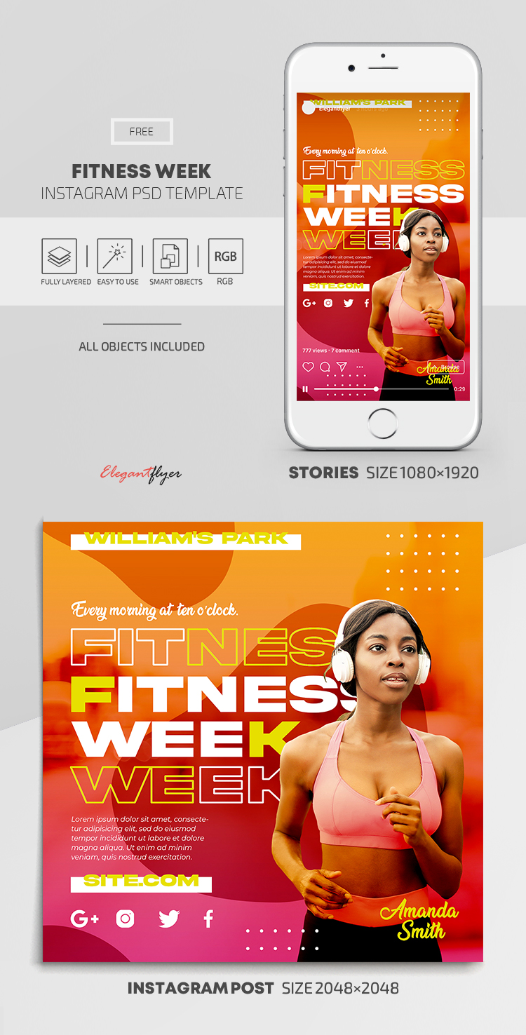 Fitness Week – Free Instagram Stories Template in PSD + Post Templates