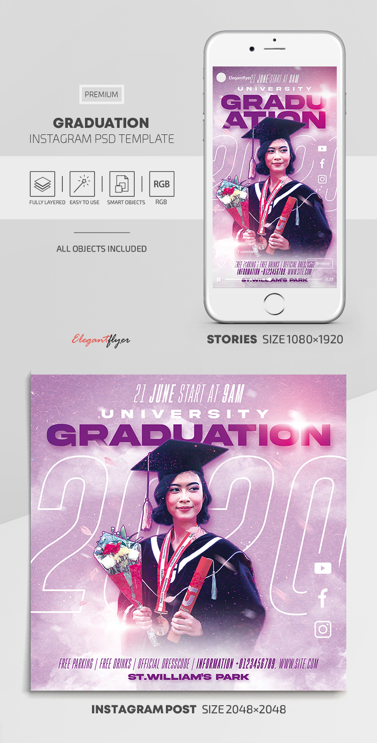 Graduation – Instagram Stories Template in PSD + Post Templates