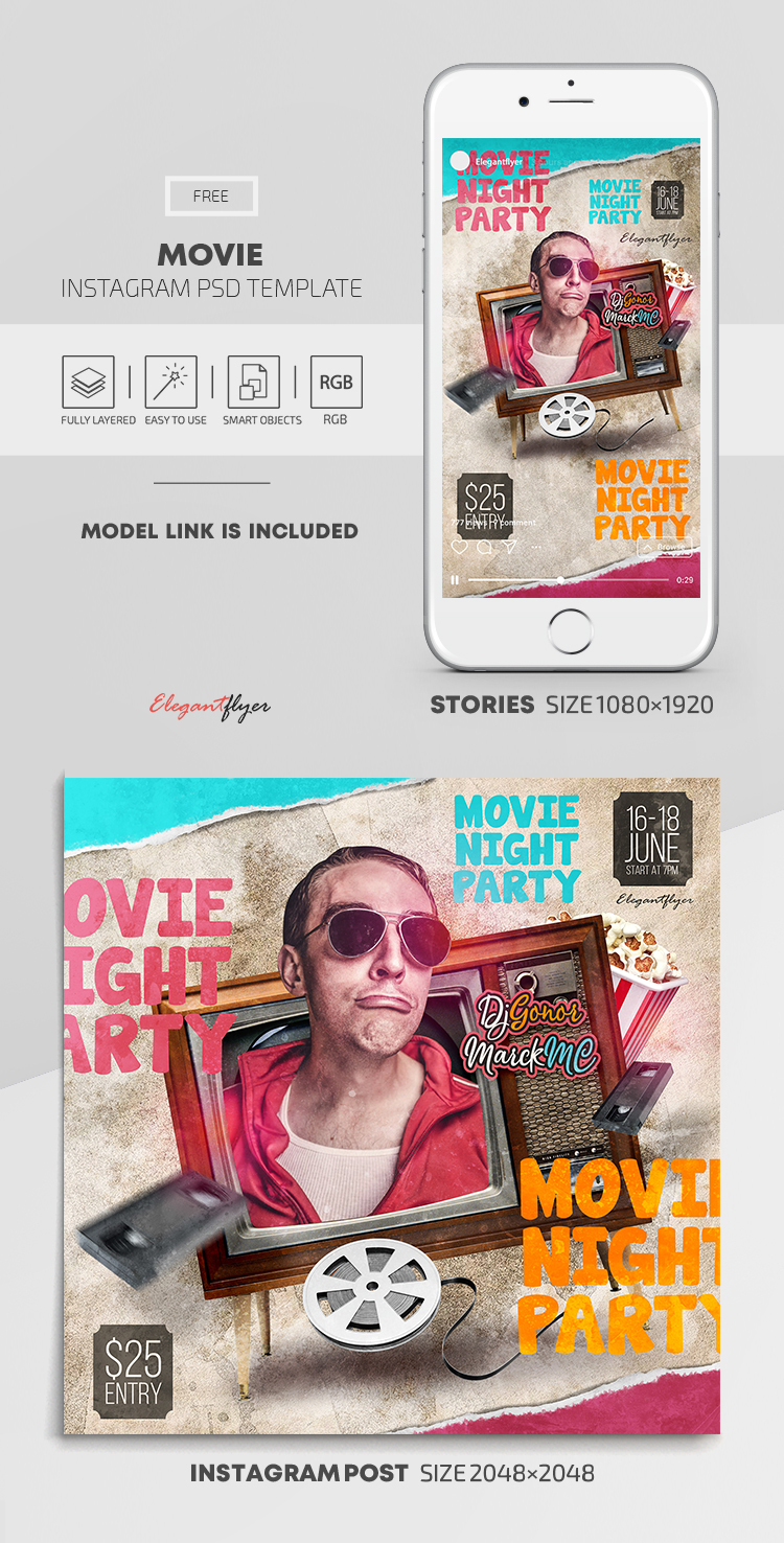 Movie – Free Instagram Stories Template in PSD + Post Templates