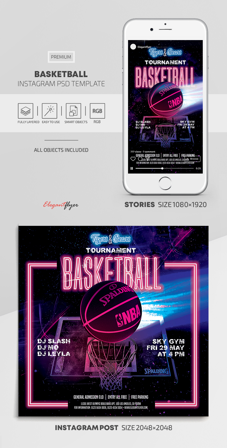 Basketball – Instagram Stories Template in PSD + Post Templates
