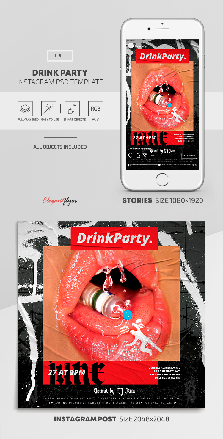 Drink Party – Free Instagram Stories Template in PSD + Post Templates