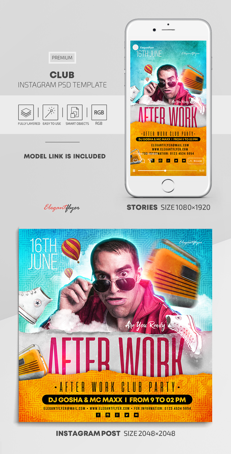 Club – Instagram Stories Template in PSD + Post Templates