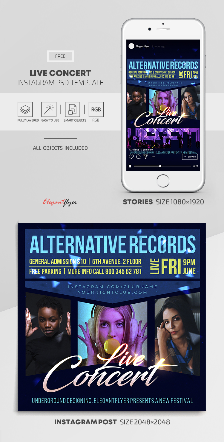 Live Concert – Free Instagram Stories Template in PSD + Post Templates