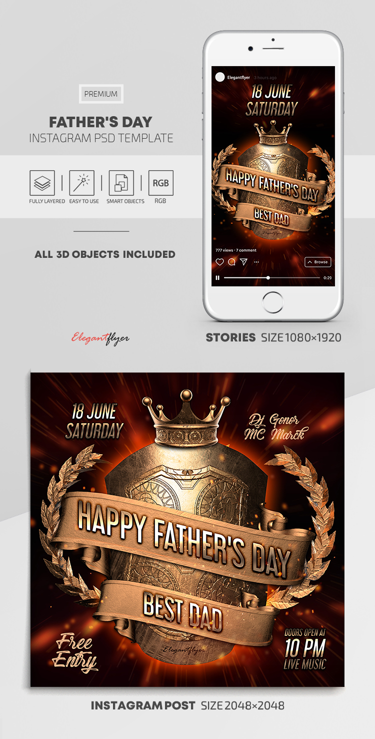 Father's Day – Instagram Stories Template in PSD + Post Templates