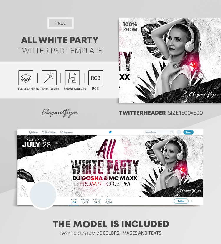 All White Party – Free Twitter Header PSD Template
