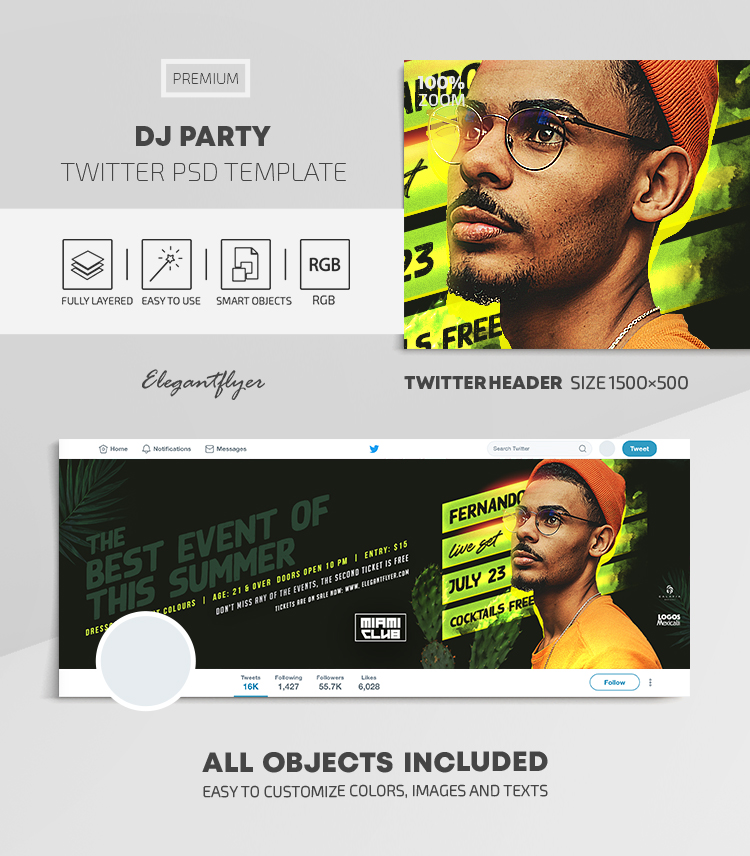 DJ Party – Twitter Header PSD Template